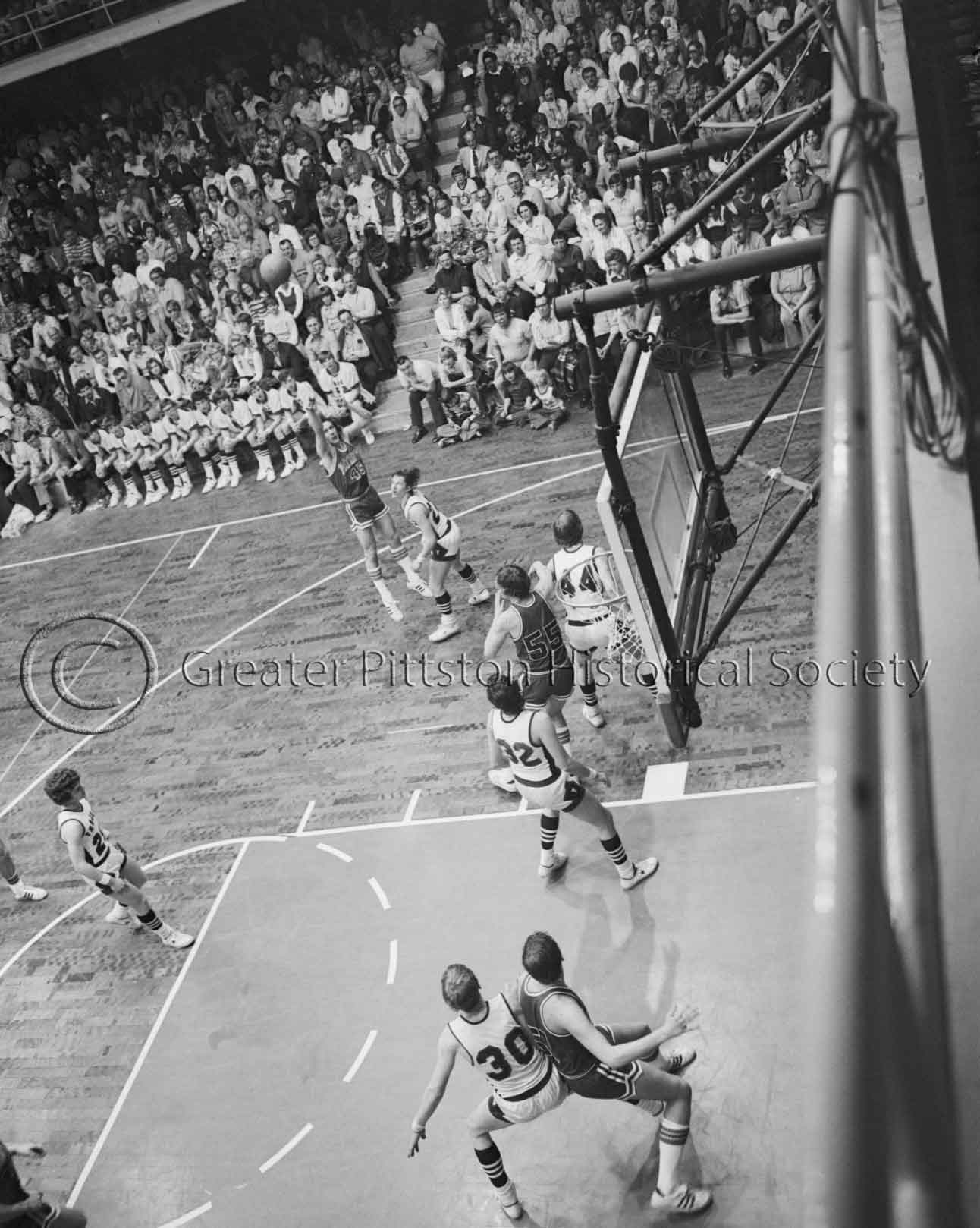 A High-School Basketball Game Between the Pittston Patriots and the Lackawanna Trail Lions, Scranton, PA (1976), Sunday Dispatch Photographic Collection (1976.1.1101), Greater Pittston Historical Society, Pittston, PA.