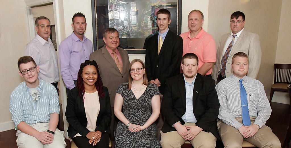 The 2015 team. First row seated from left to right: Matt Gromala, Nicole Negron, Dr. Jennifer Black, Assistant professor of history and government Misericordia University, Michael McDonnell, Jr., Cody Spriggs; second row: standing: Michael Lombardo, Mayor Jason Klush (Pittston), Dr. Thomas Botzman. president Misericordia University, Anthony Mancini, Ron Faraday, Dir. Greater Pittston Historical Society, Patrick Gallagher. Image copyright Misericordia University.