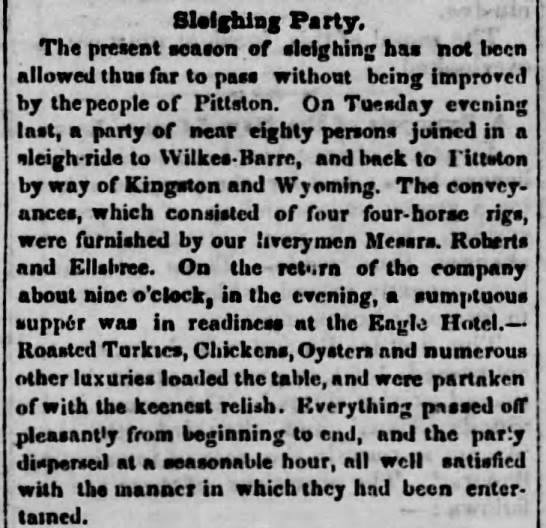 "Caption: ""Sleighing Party,"" Pittston Gazette (January 18, 1856), Collections of the Greater Pittston Historic Society, Pittston, PA."