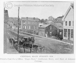 Main Street Pittston in 1854. Courtesy of the Greater Pittston Historical Society.