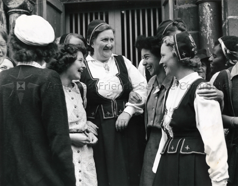 Students greeted by Oslo contingent, c.1947