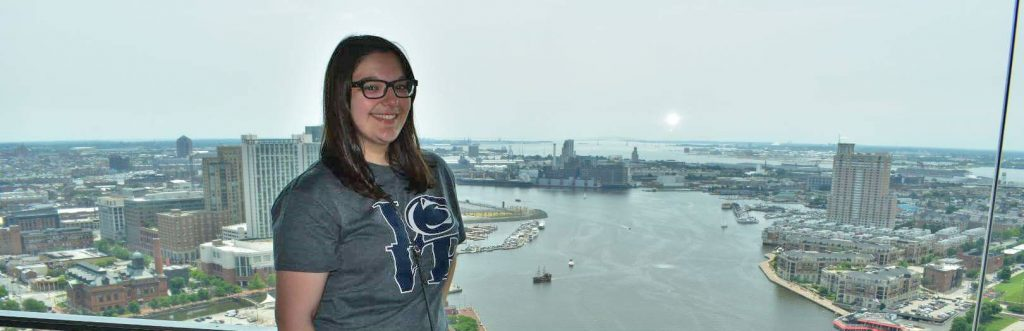 Gina in front of the Inner Harbor