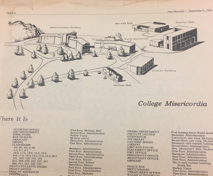 Map Of College Misericordia 1964 Mulocalhistoryprojects
